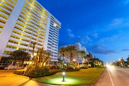 Boca Raton streets at night, Florida. Stock Photo