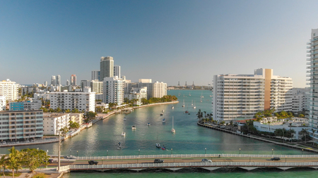 Aerial view of Venetian Way and Miami Beach from Gibb Park, Florida Stock Photo