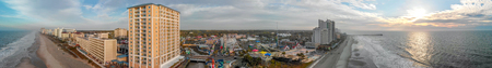 Panoramic view of Myrtle Beach at sunset.