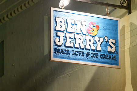 ST AUGUSTINE, APRIL 8, 2018: Ben & Jerry's ice cream store in St Augustine. Ben & Jerrys committed to making their products GMO-free.