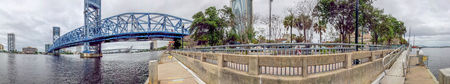 Panoramic view of Jacksonville bridge and skyline, Florida. Stock Photo