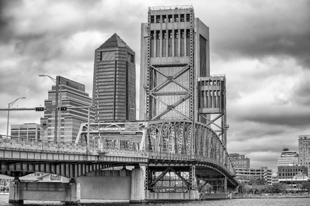 Jacksonville skyline with bridge and buildings on a overcast day. Stock Photo