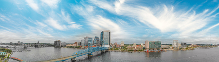 Panoramic aerial view of Jacksonville at sunset, Florida.
