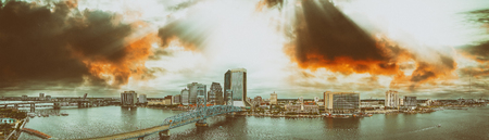 Panoramic aerial view of Jacksonville from city river at sunset, Florida. Stock Photo