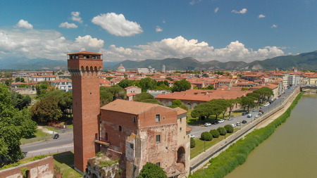 Aerial view of medieval citadel in Pisa, Tuscany. Stock Photo
