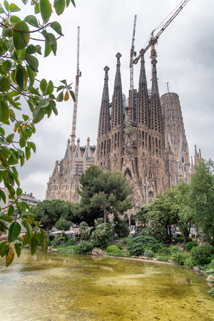 BARCELONA - MAY 12, 2018: Exterior of Sagrada Familia. This is the city symbol. Editorial