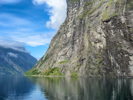Aerial view of Geiranger Fjord in Norway, summer season. Stock Photo