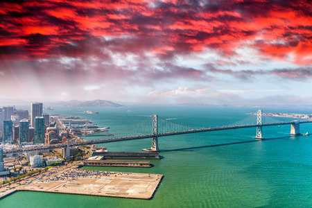 Aerial view of San Francisco Bay Bridge from helicopter.