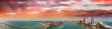 Aerial panoramic view of Miami skyline and coastline from South Pointe Park, Florida.