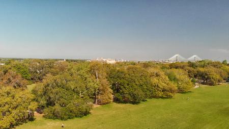Aerial panoramic view of Forsyth Park in Savannah, Georgia.
