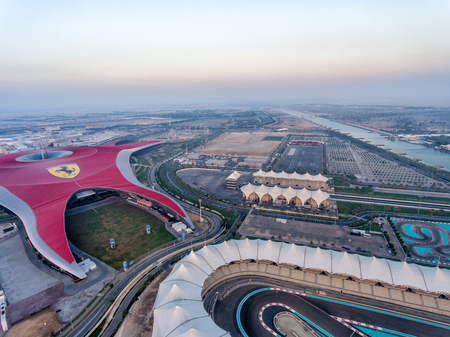 ABU DHABI, UAE - DECEMBER 2016: Aerial view of Ferrari World. This is a main city attraction for tourists.