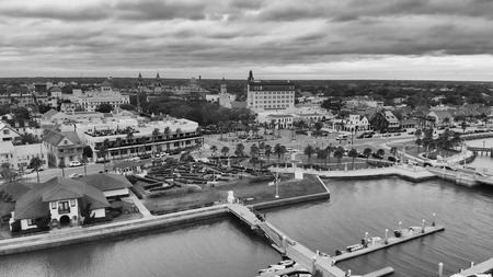 Panoramic aerial view of Saint Augustine at sunset, Florida - USA.