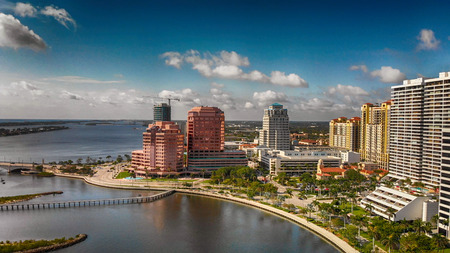 Palm Beach skyline, Florida. Panoramic aerial view from drone at sunset. 写真素材