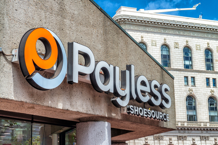SAN FRANCISCO - AUGUST 6, 2017: Payless Shoes entrance sign. The company is famous in shoes market. Stock Photo - 104986864