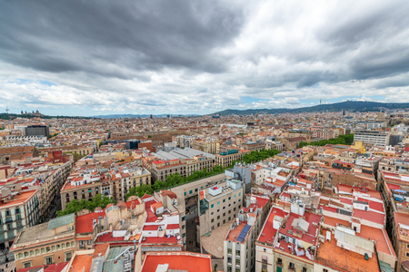 Barcelona aerial view from rooftop in Passeig de Gracia.