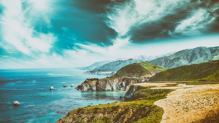 Beautiful coastline landscape of Big Sur, California in summer season.