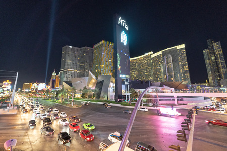 LAS VEGAS, NEVADA - JUNE 29, 2018: Traffic at night on The Strip. This is the major tourist road in the city. Editorial