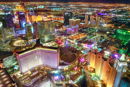 LAS VEGAS, NV - JUNE 30, 2018: Night lights of the Strip from helicopter. Las Vegas is a famous gambling destination.