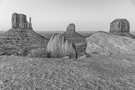 Monument Valley after sunset, long exposure of West and East Mitten Buttes.