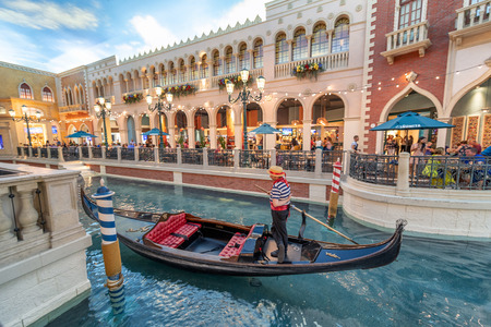 LAS VEGAS, NV - JUNE 30, 2018: Gondolier in the Venice Hotel. This is one of the most luxurious hotels in Las Vegas.