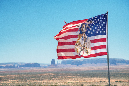 Indian American Flag in Monument Valley, USA. Stock Photo