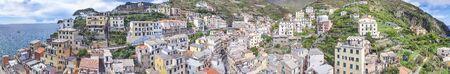 Beautiful panoramic aerial view of Riomaggiore, Cinque Terre - Italy. Imagens