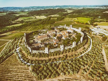 Aerial view of Monteriggioni in summer season, Tuscany. 스톡 콘텐츠