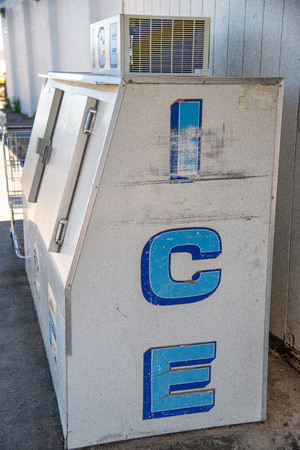 Ice vending distributor machine.