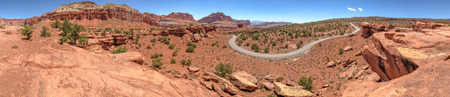 Panoramic aerial view of windy road across the canyon.