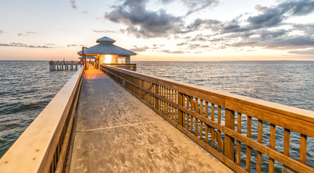 Beautiful sunset view of Fort Myers pier, Florida.