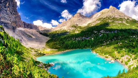 Sorapiss Lake in italian alps, Europe.
