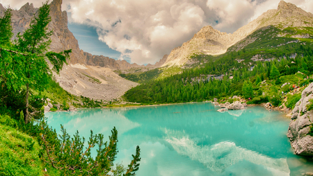 Sorapiss Lake in italian alps, Europe.