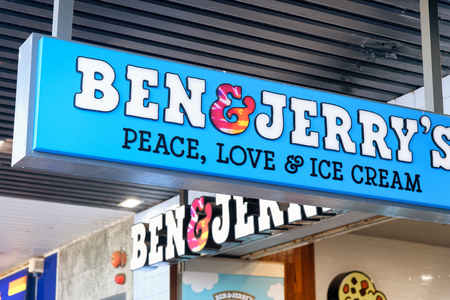 SYDNEY - AUGUST 17, 2018: Ben and Jerry Ice Cream sign at night. This is a famous American Ice Cream company.