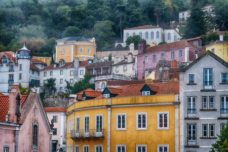 Colorful homes of Sintra, colorful town near Lisbon, Portugal. Stock Photo