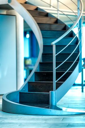 Beautiful modern stairs inside a business ofiice.Modern office chair in business office. Corporate concept Reklamní fotografie
