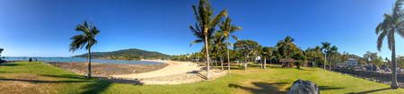 Airlie Beach coastline, panoramic view on a sunny winter day, Australia 版權商用圖片