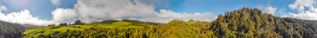 Waitomo countryside, panoramic view of New Zealand hills in spring. 版權商用圖片