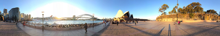 SYDNEY - AUGUST 20, 2018: Panoramic view of Sydney Harbor with Opera House and Bridge. The city attracts 20 million tourists annually.