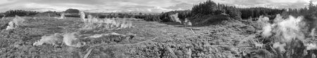 Geysers of New Zealand in Rotorua, panoramic aerial view.