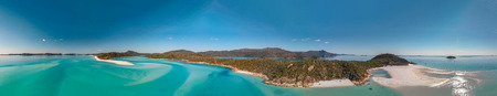 Whitehaven Beach, Australia. Panoramic aerial view of coastline and beautiful beaches .