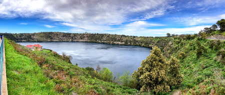 Aerial panoramic view of Blue Lake in Mt Gambier, South Australia.