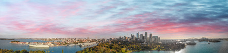 Sydney, Australia. Panoramic aerial view of city skyline and famous harbor area.