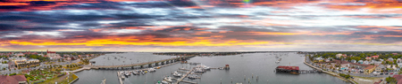 Sunset over St Augustine, panoramic view of city skyline.