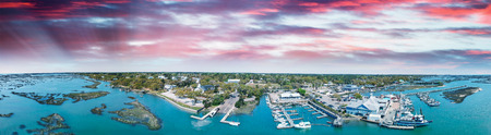 Georgetown, South Carolina. Panoramic aerial view at sunset.