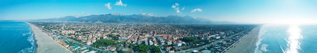 Aerial view of Forte Dei Marmi skyline, panoramic skyline