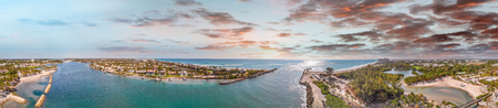 Dubois Park and Jupiter Inlet aerial view, Florida, USA. 写真素材
