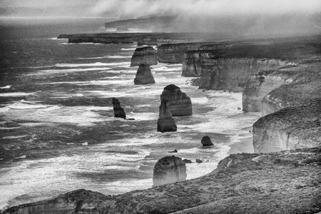 Aerial view of Twelve Apostles on a stormy day, helicopter vantage point, Australia Reklamní fotografie