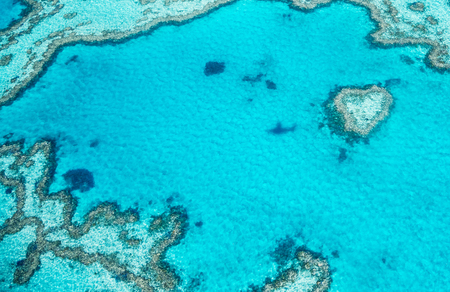 Queensland coral reef as seen from the airplane, aerial view on a sunny day with Heart Reef