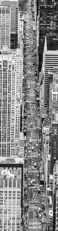New York City from the sky, Fifth Avenue view from helicopter, downward view.