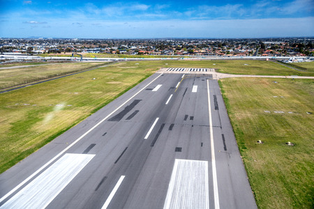 Aerial view of airport runway.